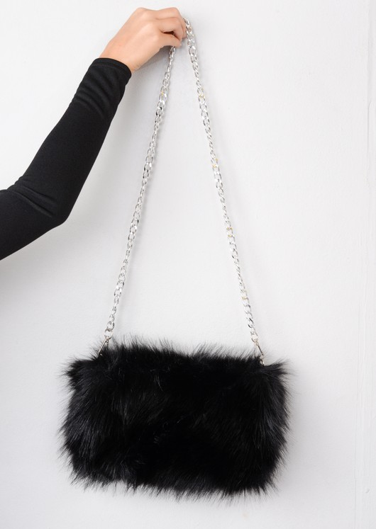 Faux Fur Clutch Bag Black