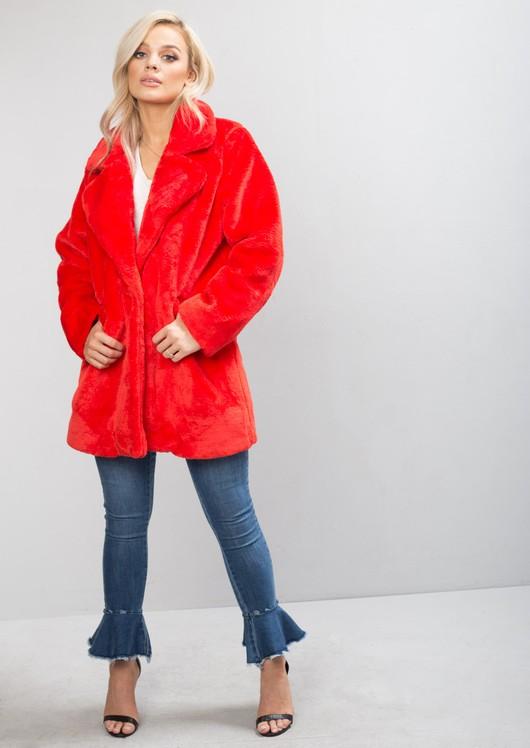 Faux Fur Coat Jacket Red