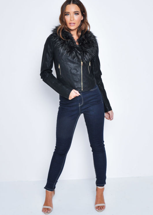Faux Fur Collar Cropped Faux Leather Biker Jacket Black