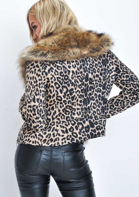 Leopard Print Faux Fur Collar Cropped Biker Jacket Multi