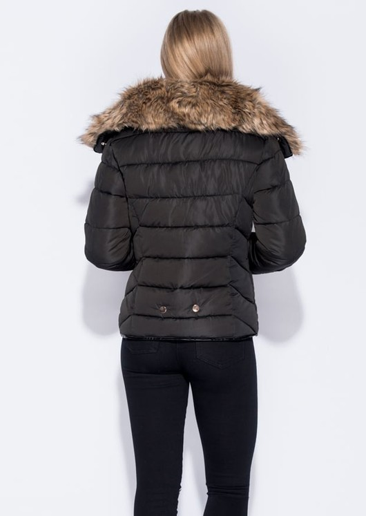 Faux Fur Collar Quilted Padded Puffer Jacket Coat Black