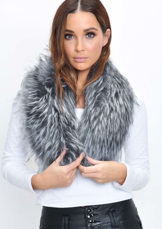 Faux Fur Collar Scarf Grey