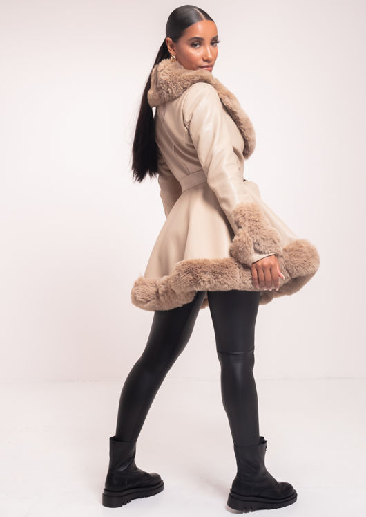 Faux Fur Collared And Trimmed Longline Belted Leather Coat Beige