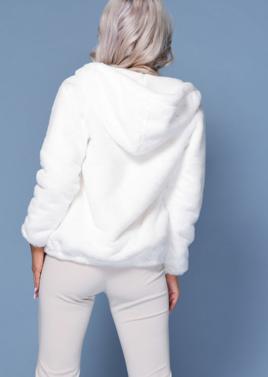 Faux Fur Crop Hooded Coat Cream Beige