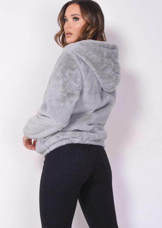 Faux Fur Crop Hooded Coat Grey