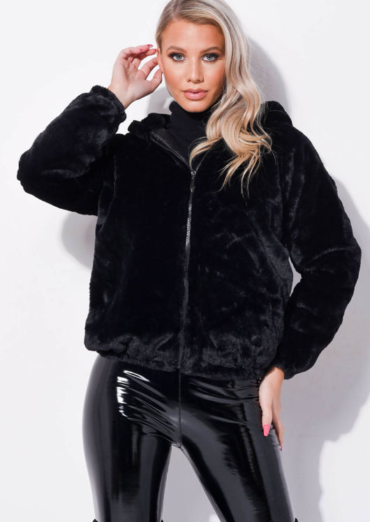 Faux Fur Crop Hooded Coat Black