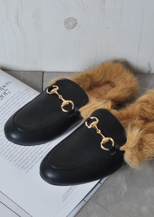 Faux Fur Flat Slip On Mule Loafers Black