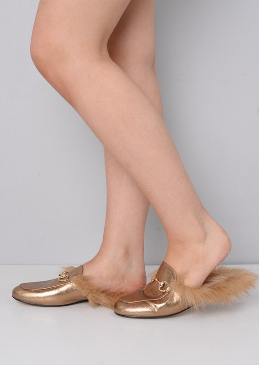 Faux Fur Flat Slip On Mule Loafers Gold