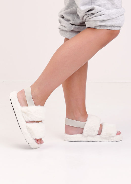 Faux Fur Fluffy Strap Back Slider Sandal White