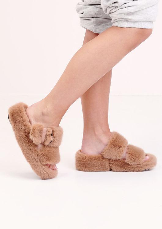 Faux Fur Fluffy Strap Platform Slider Sandal Beige