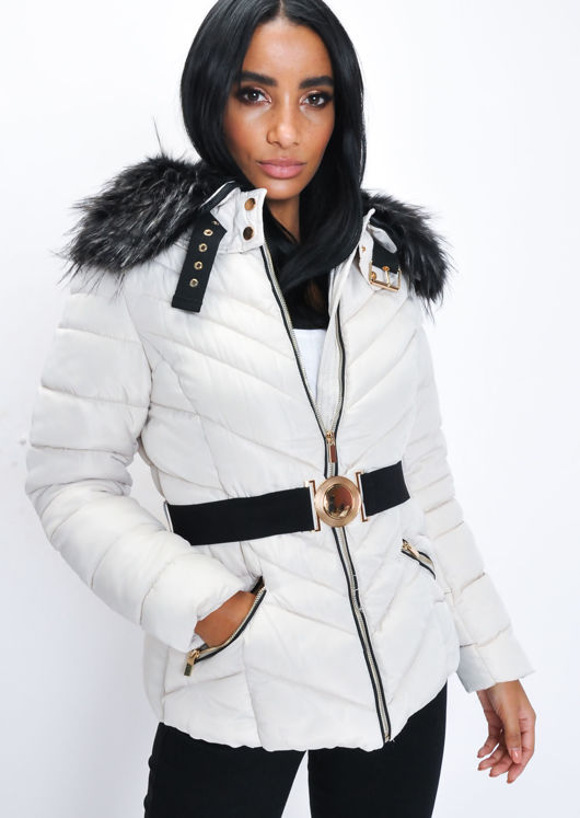 ae1c315223ef Faux Fur Hooded Belted Padded Puffer Coat Beige