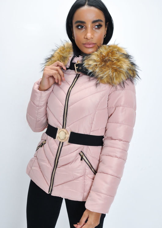 0f11bfadcb1f Faux Fur Hooded Belted Padded Puffer Coat Pink