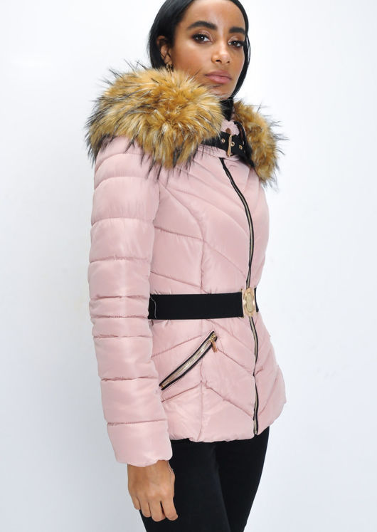 Faux Fur Hooded Belted Padded Puffer Coat Pink