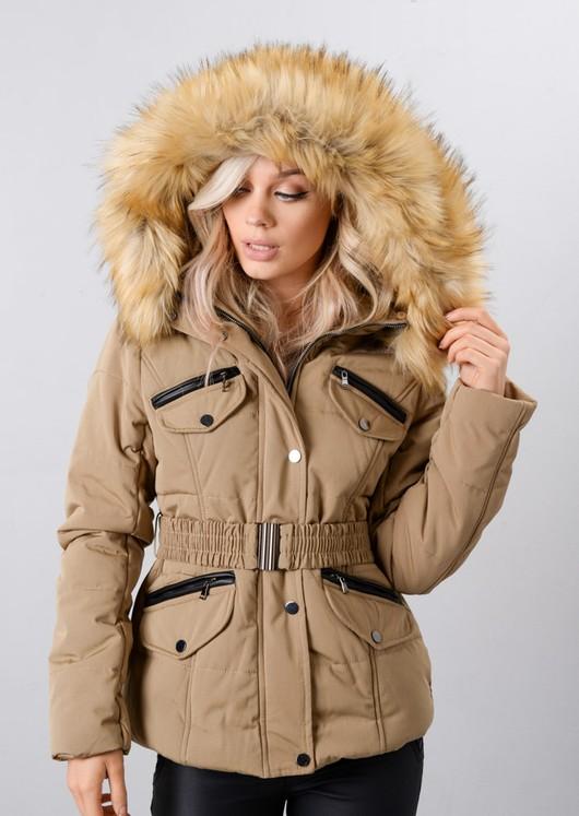 Faux Fur Hooded Belted Puffer Coat Beige