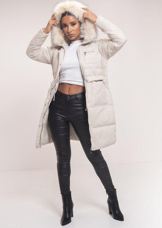 Faux Fur Hooded Drawstring Longline Padded Puffer Coat Beige