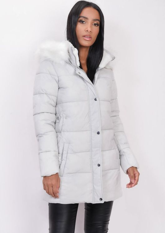 Padded Faux Fur Hooded Longline Puffer Coat Parka Grey