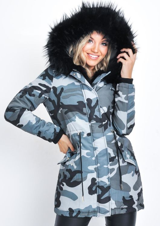 Faux Fur Hooded Padded Parka Camo Coat Black