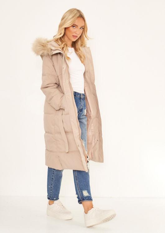 Faux Fur Hooded Padded Snap Fastening Longline Puffer Coat Beige