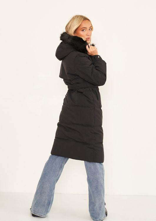Faux Fur Hooded Padded Snap Fastening Longline Puffer Coat Black