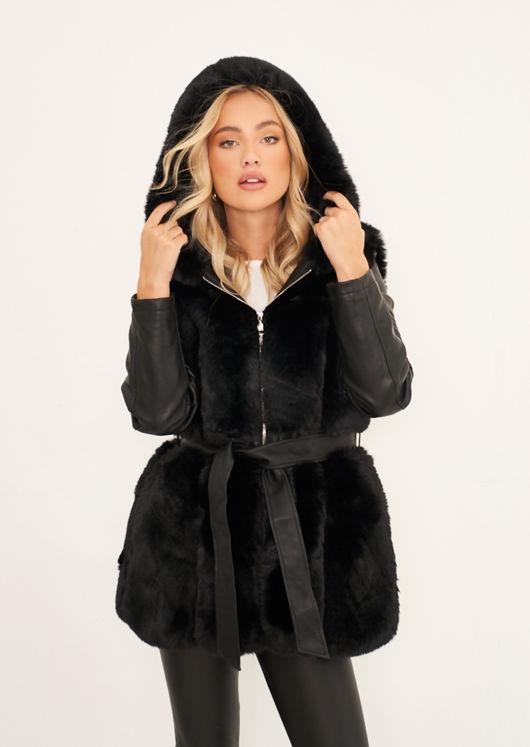 Faux Fur Hooded Panelled Pu Leather Longline Jacket Coat Black
