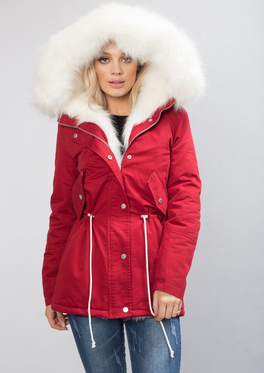 White Faux Fur Hooded Parka Red