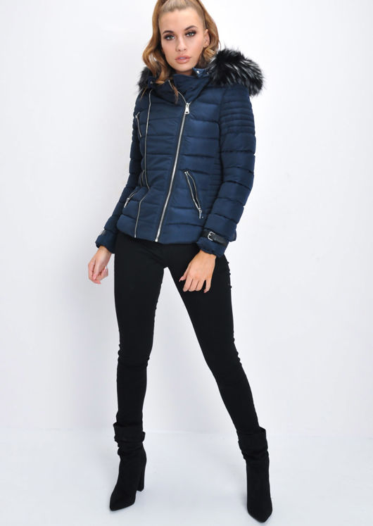 Faux Fur Hooded Quilted Puffer Jacket Navy Blue