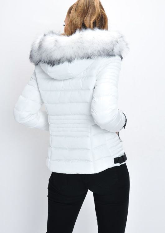 Faux Fur Hooded Quilted Puffer Jacket White