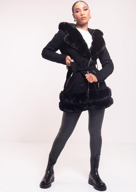 Faux Fur Hooded Suede Longline Belted Coat Black