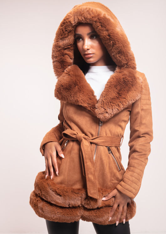 Faux Fur Hooded Suede Longline Belted Coat Brown