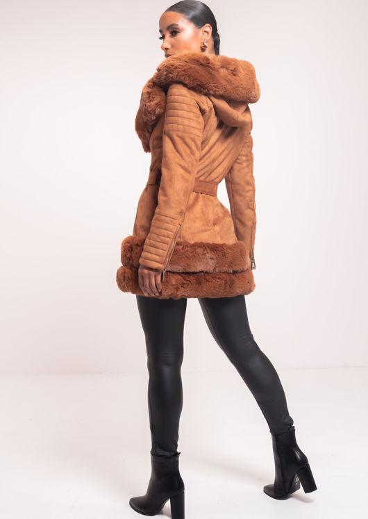 Faux Fur Hooded Suede Longline Belted Coat Brown