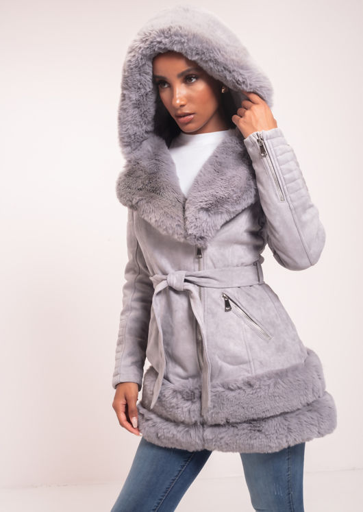 Faux Fur Hooded Suede Longline Belted Coat Grey
