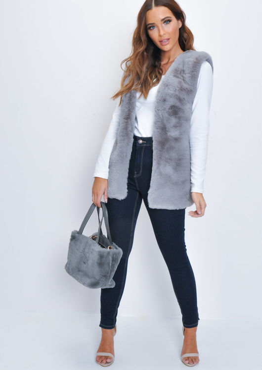 Faux Fur Mini Bucket Shoulder Bag Grey