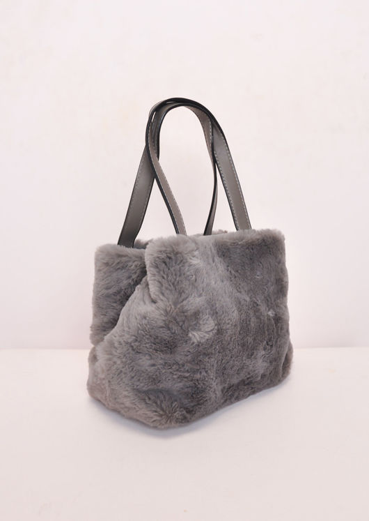 Faux Fur Mini Bucket Bag Grey