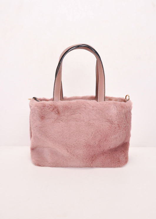 1c74056458 Faux Fur Mini Bucket Bag Pink
