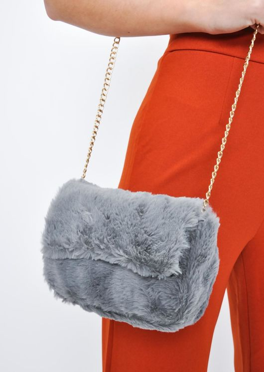 Faux Fur Chain Crossbody Bag Grey