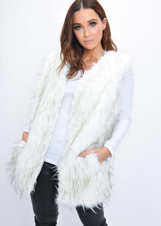 Faux Fur Mongolian Longline Gilet White