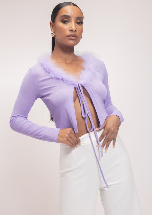 Front Tie Crop Cardigan Top Purple