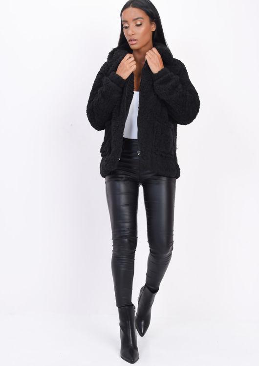 Faux Fur Oversized Zip Up Teddy Jacket Black