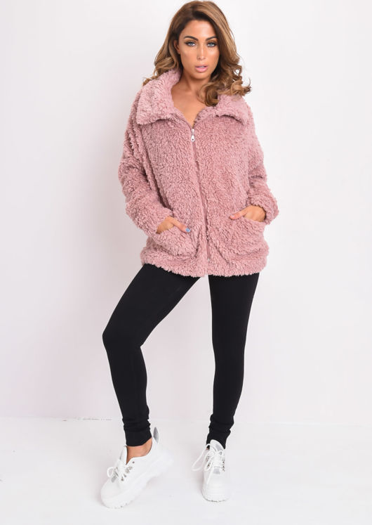 Faux Fur Oversized Zip Up Teddy Jacket Pink