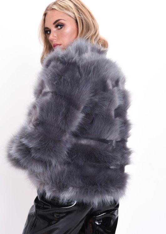 Faux Fur Panel Crop Jacket Coat Dark Grey