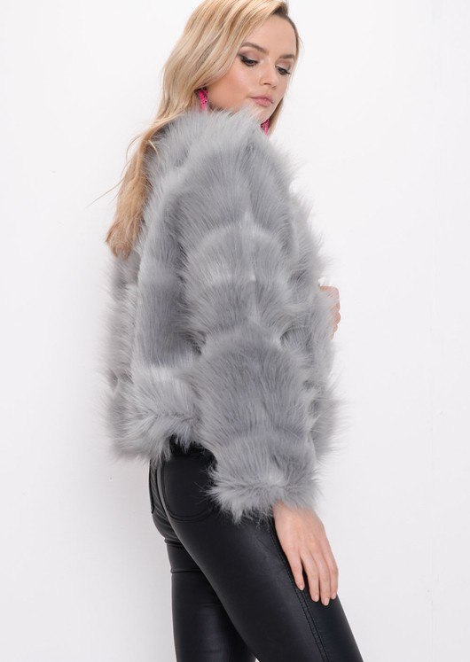 Faux Fur Panel Crop Jacket Coat Light Grey
