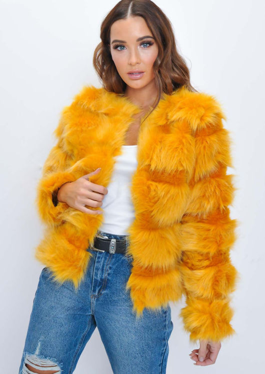 Faux Fur Panel Crop Jacket Coat Orange