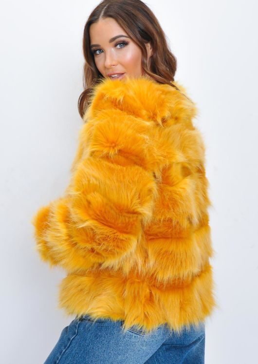 Faux Fur Panel Crop Jacket Coat Orange