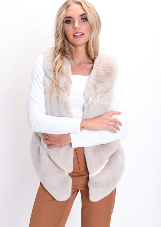 Faux Fur Panel Gilet Beige