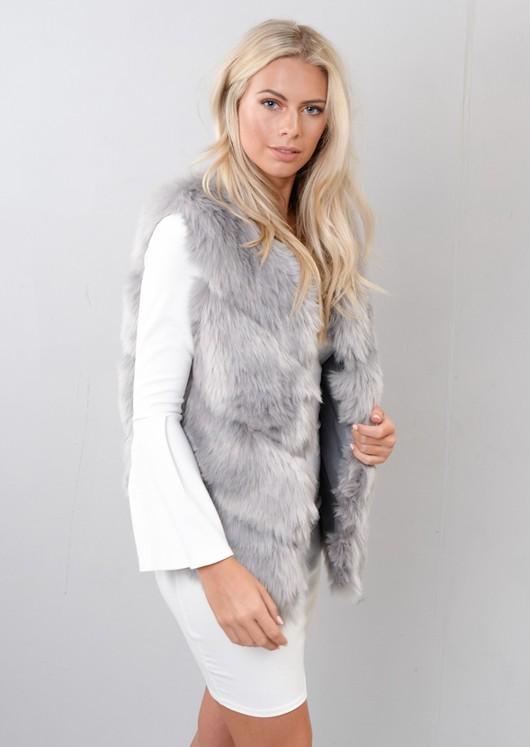 Faux Fur Panel Gilet Jacket Grey