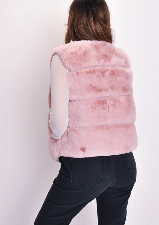 Faux Fur Panel Gilet Mauve Pink