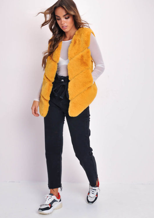 Faux Fur Panel Gilet Mustard Yellow