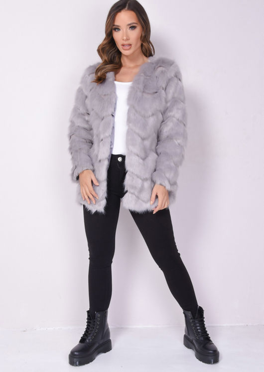 Faux Fur Zigzag Panel Soft Touch Jacket Coat Grey