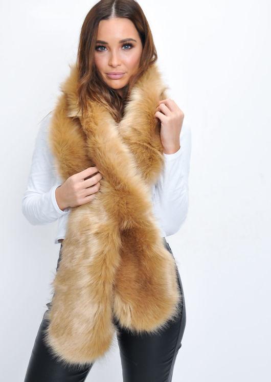 Faux Fur Scarf Camel Brown