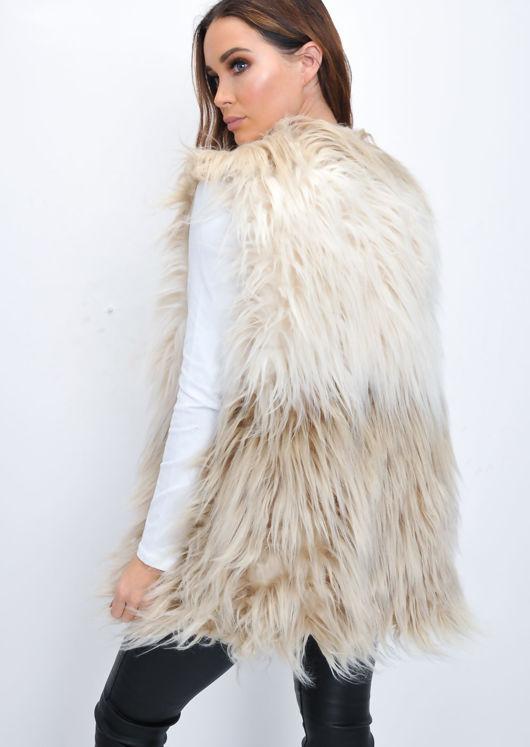 Faux Fur Shaggy Ombre Gilet Beige